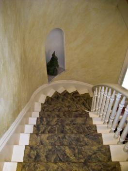 faux painted marble stairs  and plaster walls